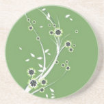 Volutes � flowers on green reason - drink coasters