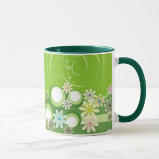 Volutes � flowers on green reason - mug