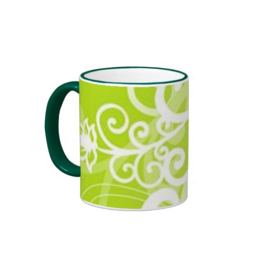 Volutes � flowers on green reason - mugs