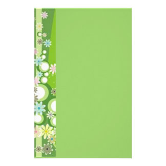 Volutes � flowers on green reason - stationery