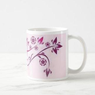 Volutes � flowers on pink reason - coffee mug