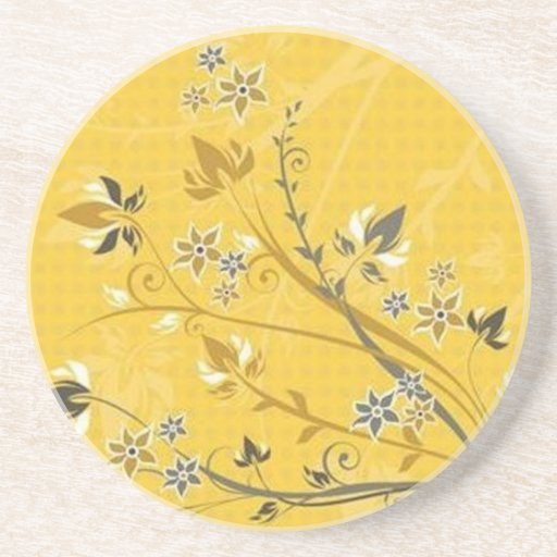 Volutes � flowers on yellow reason - coasters