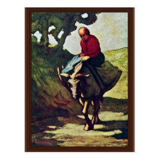 Volviendo a casa del mercado, por Daumier Honoré Postal