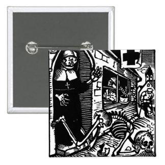 Vom Totentanz Nun and Skeleton button