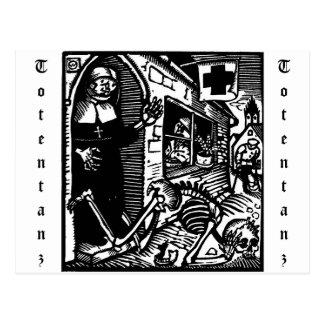Vom Totentanz Nun and Skeleton postcard