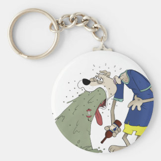 Vomiting dog basic round button keychain