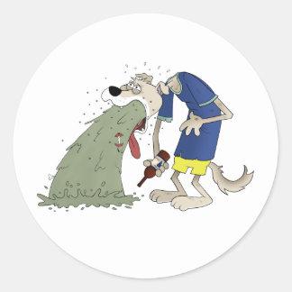 Vomiting dog classic round sticker