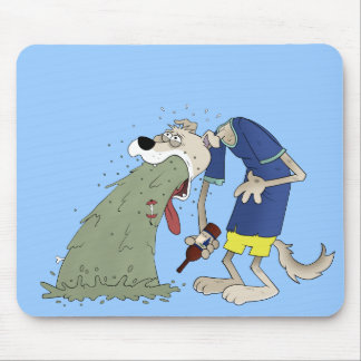 Vomiting dog mouse pad