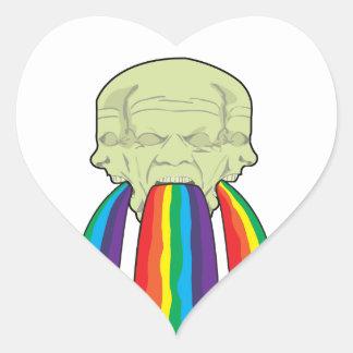 ¡Vómito del arco iris de la CONDENACIÓN!! Pegatina En Forma De Corazón