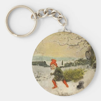 Vomtage Nisse Bringing Home the Christmas Tree Key Chain