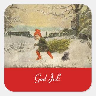 Vomtage Nisse que trae a casa el árbol de navidad Pegatina Cuadrada