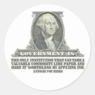 Von Mises en los billetes Etiqueta Redonda