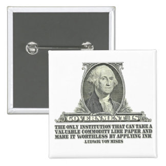 Von Mises on Paper Money 2 Inch Square Button