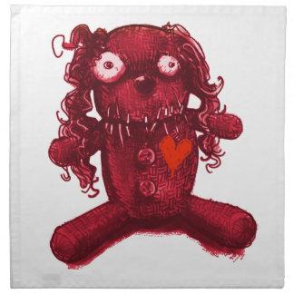 voodoo baby red heart napkin