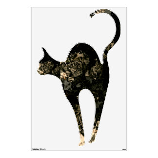 VOODOO BLACK CAT ABSTRACT PATTERN WALL DECOR