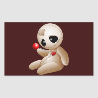 Voodoo Doll Cartoon in Love Rectangular Sticker