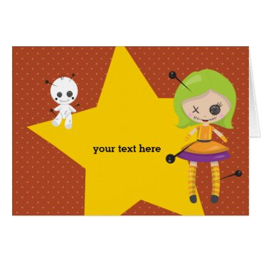 Halloween Themed Voodoo doll - choose background color card