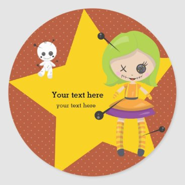 Halloween Themed Voodoo doll - choose background color classic round sticker