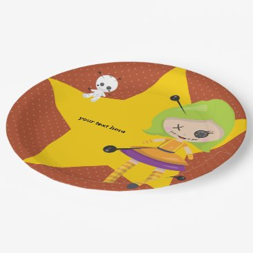 Halloween Themed Voodoo doll - choose background color paper plate