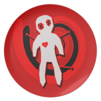 Voodoo Doll in Black and Red Plate