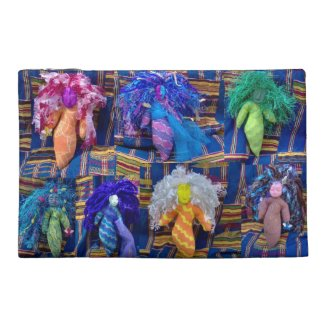 Voodoo Dolls on EelKat's Antique Blue Kente Travel Accessory Bag