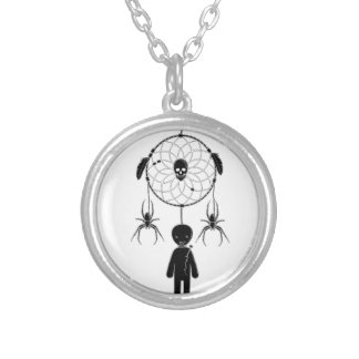 Voodoo dream-catcher silver plated necklace