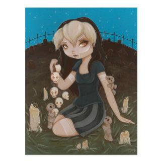 Voodoo GOTH girl skull Post Cards