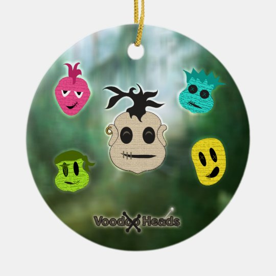 Voodoo Heads ~ Swamp Ceramic Ornament
