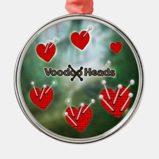 Voodoo Heads ~ Swamp Round Metal Christmas Ornament