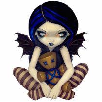 voodoo, voodoo doll, doll, poppet, hoodoo, voudou, voudoo, santeria, occult, witchcraft, witch, blue, art, fantasy, eye, eyes, big eye, big eyed, jasmine, becket-griffith, becket, griffith, jasmine becket-griffith, jasmin, strangeling, artist, goth, gothic, fairy, gothic fairy, faery, fairies, faerie, fairie, lowbrow, low brow, big eyes, strangling, fantasy art, Photo Sculpture with custom graphic design