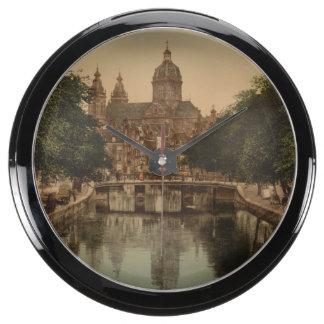 Voorburgwal & Nicolaaskerk, Amsterdam Fish Tank Clocks