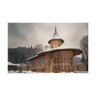 Voronet Monastery in winter Canvas Print