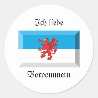 Vorpommern Flag Gem Round Sticker
