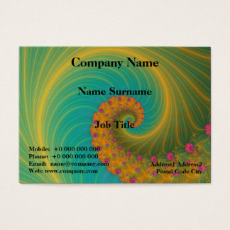 Vortex on Poppy Row in Orange and Turquoise Business Card