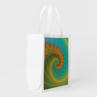 Vortex on Poppy Row in Orange and Turquoise Grocery Bags