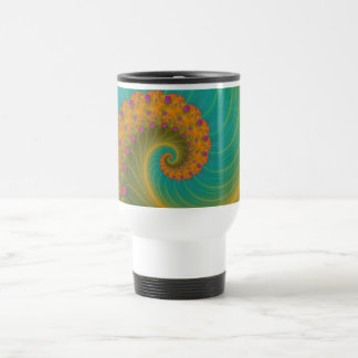 Vortex on Poppy Row in Orange and Turquoise Mug