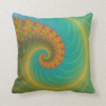 Vortex on Poppy Row in Orange and Turquoise Throw Pillow