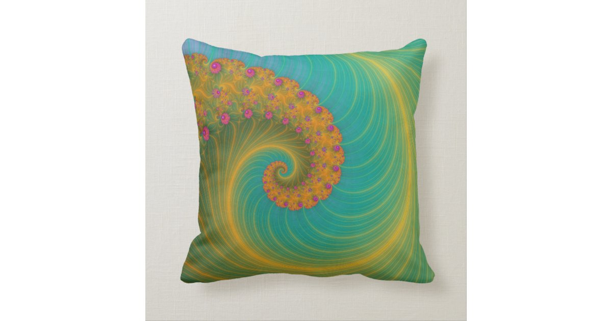 vortex on poppy row in orange and turquoise throw pillow. Black Bedroom Furniture Sets. Home Design Ideas