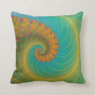 Vortex on Poppy Row in Orange and Turquoise Throw Pillow