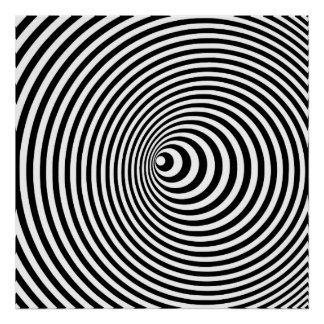 Vortex, optical illusion black and white square poster
