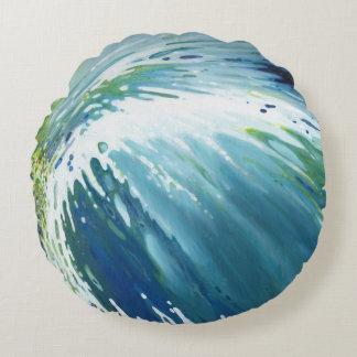 """Vortex Wave Blue Aqua Green Yellow 16"""" Pillow"""