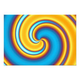 Vórtice abstracto amarillo que fluye comunicados