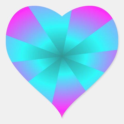 Vórtice brillante pegatina en forma de corazón