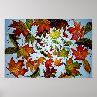 Vórtice del otoño - hojas de arce póster