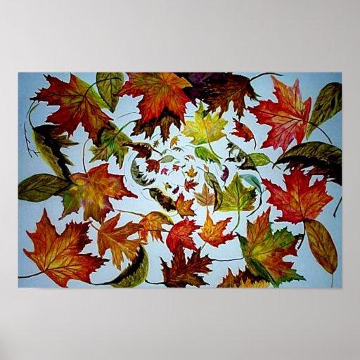 Vórtice del otoño - hojas de arce poster
