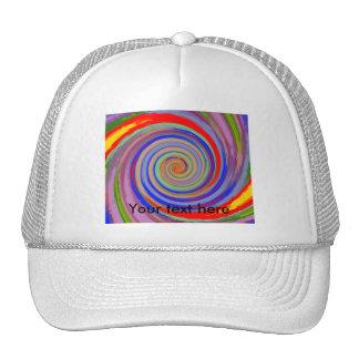 Vórtice que remolina multicolor al azar gorras