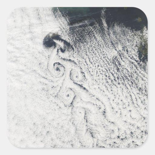 Vórtices de la nube de Von Karmann Pegatina Cuadrada