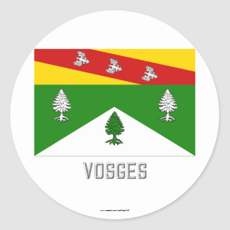 Vosges flag with name classic round sticker