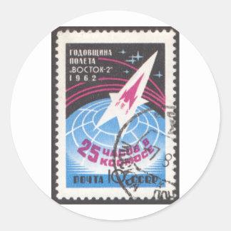 Vostok 2 and Globe Round Sticker