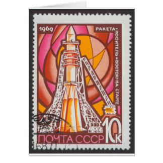 Vostok Spacecraft on Launchpad USSR Stamp 1969 Card